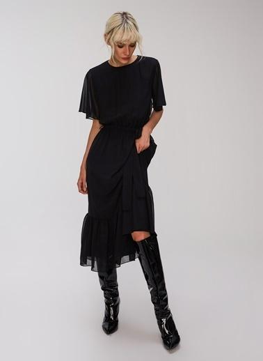 People By Fabrika Volan Detaylı Melek Kol Elbise Siyah